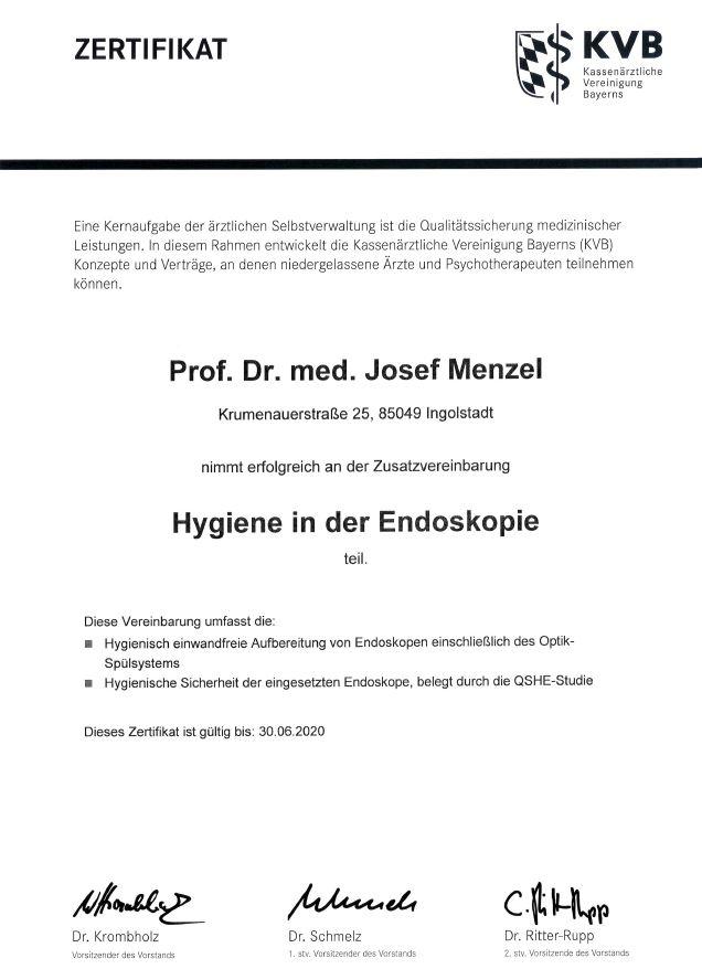 Zertifikat des Klinikums Ingolstadt für Hygiene in der Endoskopie