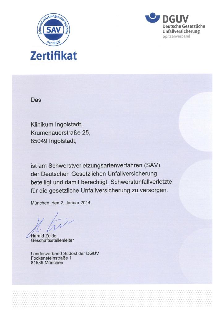 Urkunde SAV