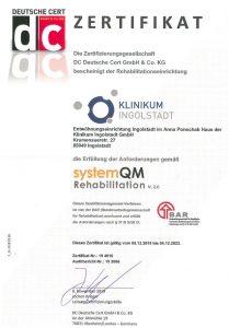 Zertifikat der Entwöhungseinrichtung im Anna Ponschab Haus Ingolstadt